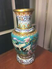 12 1/4� Vintage 20th Century Chinese Cloisonne Vase with White Crane Birds