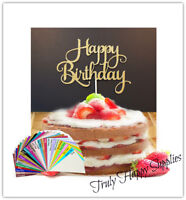 Happy birthday cake Topper in 29 Glitter card colours