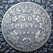 OLD CANADIAN COIN 1898 - 50 CENTS - .925 SILVER - Victoria - Nice