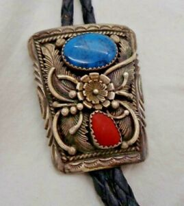 Kee Montoya Navajo Bolo Tie Turquoise/Coral Stones Sterling Native American Art