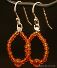 ANCIENT ROMAN EGYPTIAN CARNELIAN STONE BEADS - EARRINGS - 1ST - 2ND CENTURY A.D.
