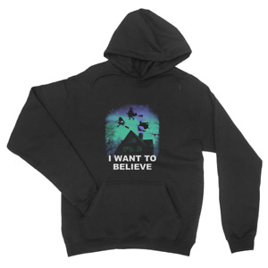 i Want To Believe T-Shirt Halloween Witch Screaming Funny Mens Unisex Hoodie