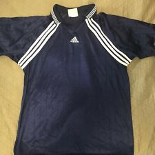 Vintage Men's 90's Adidas 3 Stripes Blue White Soccer Futbol Jersey Shirt Xxl