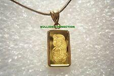 NEW 24 KT GOLD 1 GRAM PAMP SUISSE FORTUNA VERISCAN BAR 14 KT SOLID GOLD PENDANT