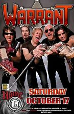 WARRANT 2016 CHICAGO CONCERT TOUR POSTER - Glam Metal, Hairband Rock Music