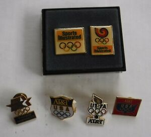 Olympic Game USA  6 Lapel Hat Tie Pins  AT&T Times Mirror Sports Illustrated