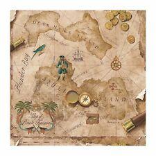 Pirate / Pirates Treasure Chest Map on Light Brown Sure Strip Wallpaper BT2817
