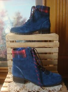 NWOB~ CROWN & IVY JUNE~ NAVY SUEDE LEATHER W/PLAID TRIM COMBAT ANKLE BOOTS ~ 8M
