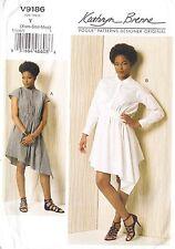 Vogue Designer Dress Diagonal Detail Shaped Hem (Xsm-Med) Sewing Pattern
