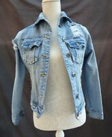 Next distress/bleach/torn/worn/holey long sleeve denim jacket Size 8