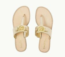 NEW Lilly Pulitzer ROUSSEAU SANDAL Gold Metallic Slides Sandals Thong Shoes 6.5