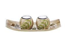 Dekoschale mit 2 Kerzenhalter im Blattdesign