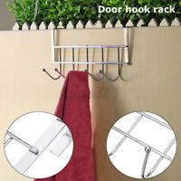 5 Hooks Metal Over The Door Hook Rack Hanger Coat Towel Clothes Hat Bag