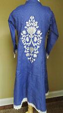 Emb. Blue  Tribal Ethnic Bohemian Festival Hawaiian  Mexican Caftan Dress sz XL