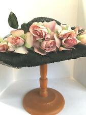 "Vintage Wide Brim Hat Straw Netting Brown Black Bow Pink Roses Leaves 7"" Inside"