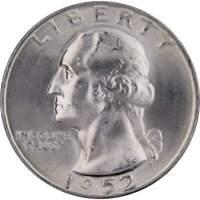 1952 D Washington Quarter BU Uncirculated Mint State 90% Silver 25c US Coin