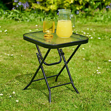 More details for garden table 40cm square glass top folding outdoor patio home furniture summer