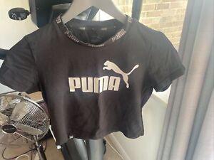 Authentic New Puma Women Black Crop T-shirt Size S