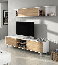 Hogar24.es-Mueble de salón comedor, módulo TV + estante, Blanco Brillo y Roble