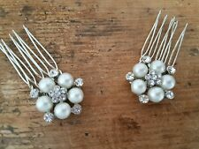 Bridal Mini Comb Set of 2 Diamante ivory pearl Vintage Gatsby side hair combs
