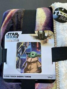 Star Wars The Mandalorian Cloud Sherpa Throw Blanket Mando Baby Yoda 50 X 60 NEW