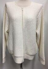 NWOT Anne Klein Womens 2X Cream Front Zip Cardigan Sweater