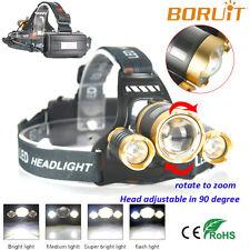 Boruit Zoom 10000lm 3 X XM-L T6 LED Rechargeable Headlamp Head Lights Torch Lamp