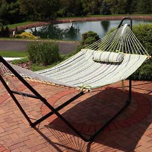 Sunnydaze Cotton Quilted Hammock Pad and Pillow - Khaki Stripe