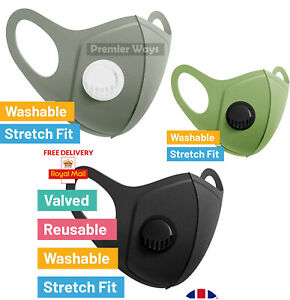 Black Face Mask With Filter Air Valve, Washable, Reusable.UNISEX.UK STOCK! 1x PC
