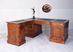 Mahagoni Schreibtisch Partnerdesk Winkelschreibtisch Eckschreibtisch Massivholz