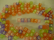 Pastel coloured transparent Plastic Alphabet Beads  x52 mixed letters