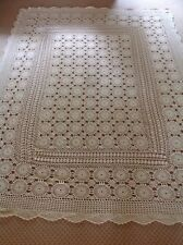 "ANTIQUE BEDSPREAD COVERLET TABLE  FRENCH LACE HAND CROCHET 73""x55"" RARE PATTERN"