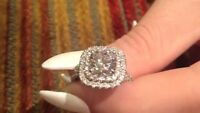 womens halo cushion cut 2ct diamond engagement wedding ring 14k white gold over