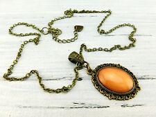 "Vintage Barock Halskette ""Sonnenorange"" in Bronze Orange Modeschmuck Cabochon"