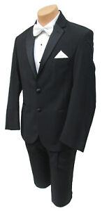 Men's Black Ralph Lauren Tuxedo with Flat Front Pants Satin Notch Lapels 46L 40W