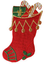 """#3161 3 3/4"""" Christmas Stocking Embroidery Iron On Applique Patch"""