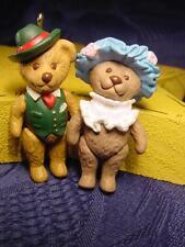 2 ~ Tiny Jointed Bear Dolls MINIATURE Christmas Ornaments Dollhouse Doll sz L@@K