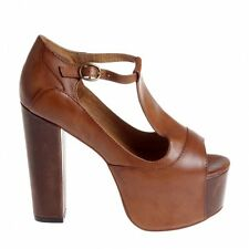 Sandali marroni plateau JEFFREY CAMPBELL Foxy Wood tan platform sandals EU37 UK4