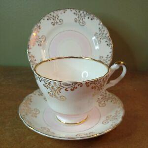 Vintage 1950s Regency Bone China Tea Trio, Cup, Saucer & Plate, Pink & Gold