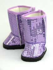 """Purple Sparkling Sequin Boots Fits 18"""" American Girl Doll Clothes Shoes"""