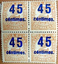 Spain 743d d13 ** 1938, Bloque TIRA de 4, nuevo MNH sobrecarga, aprx. 200€ raro