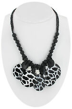 Necklace Fringe Black White Animal Print Bold Pattern Natural Handmade Wood