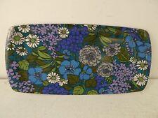 More details for vintage 1960/70's blue/purple floral design thetford melamine serving tray f7