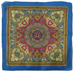 "22""x22"" Ornate Paisley Mosaic Multi Color Blue 100% Cotton Bandana Bandanna"