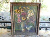 Rare Dutch Artist RIEUWERS Original Danish Floral Oil Painting Vintage 1950s