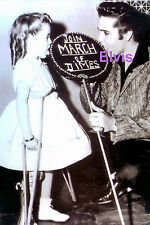 ELVIS PRESLEY WITH A MARCH OF DIMES GIRL PUBLICITY PROMO PHOTO CANDID