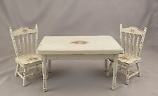 Dollhouse Miniature Shabby Chic Kitchen Farmhouse Table & Chairs Floral