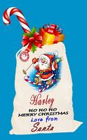 Personalised Merry Christmas Gift Santa Sack Bag Stocking Family Kids Pet Sacks