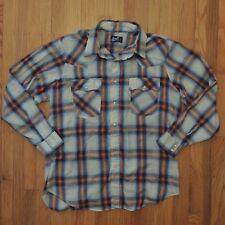 Levis Vintage Western Pearl Snap Shirt Orange Blue Plaid Long Sleeve Mens Sz XL
