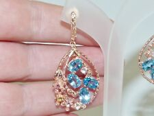GENUINE 8.68ct Swiss Blue Topaz & Brazilian Tourmaline Earrings S/Silver 925